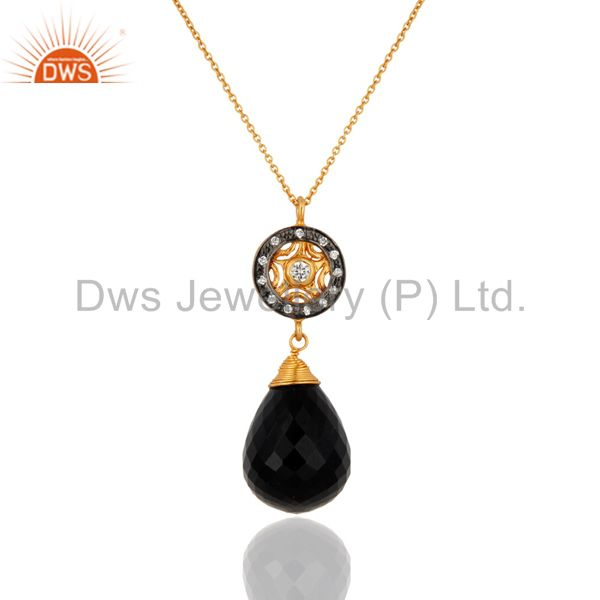 18K Yellow Gold Plated Sterling Silver Black Onyx Briolette Pendant With Chain