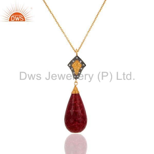 18K Yellow Gold Plated Sterling Silver Dyed Ruby Gemstone Drop Pendant With Chai