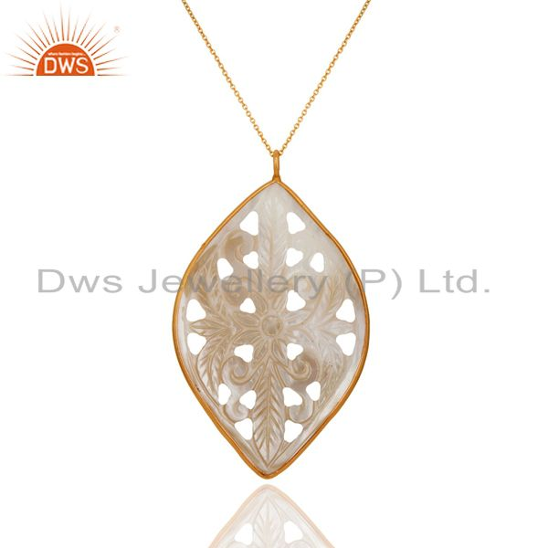 """Hand Carved Mother of Pearl 18k Gold Plated Sterling Silver Pendant 16"""" In Chain"""