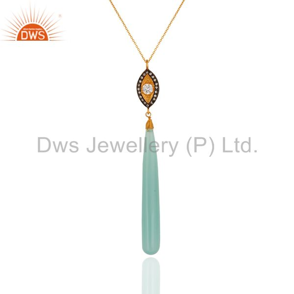 Natural Aqua Blue Chalcedony Gemstone Drop Pendant Made In 18K Gold On Silver
