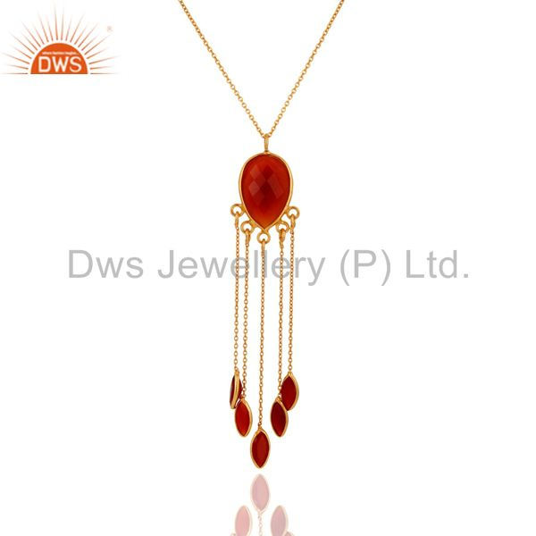 925 Sterling Silver Red Onyx Gemstone 24K Gold Plated Chandelier Style Pendant