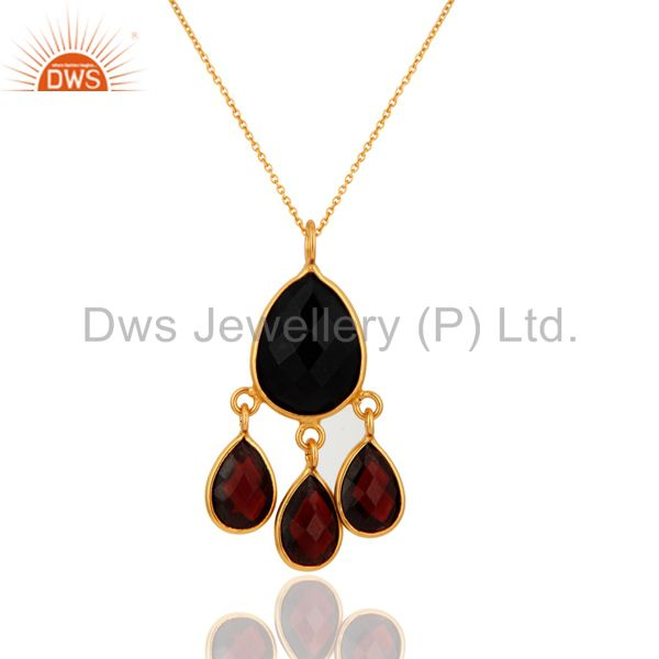 925 Sterling Silver Natural Black Onyx Garnet Pendant With Gold Plated