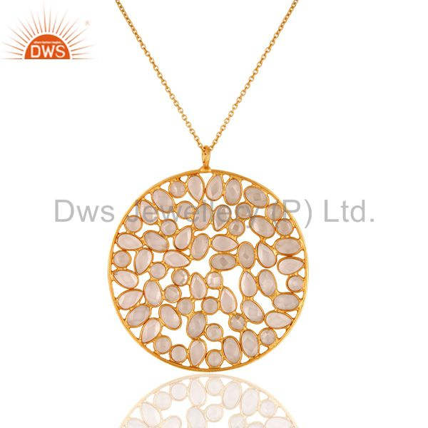 Cubic Zirconia Stunning 22K Yellow Gold Plated Sterling Silver Circle Pendant