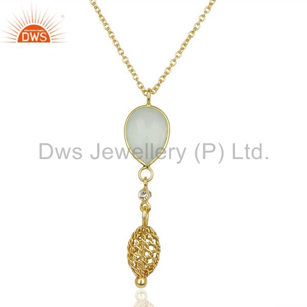 Aqua Chalcedony 14K Gold Plated Filigree 92.5 Sterling Silver Pendent