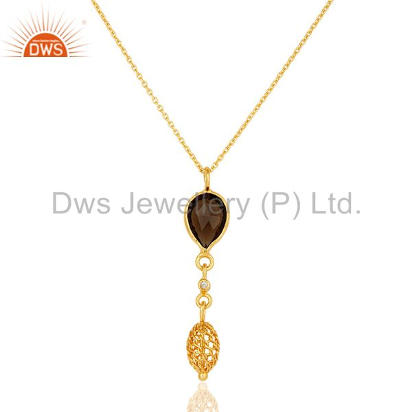 18K Gold Plated Sterling Silver CZ & Smoky Quartz Gemstone Pendant With Chain