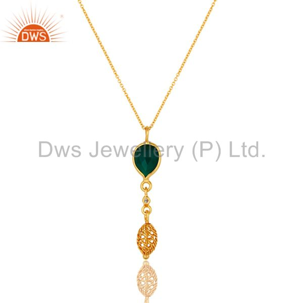 18K Gold Plated Sterling Silver Green Onyx And White Topaz Designer Pendant