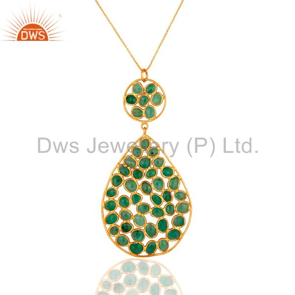 Natural Emerald Gemstone Sterling Silver Drop Pendant With Chain - Gold Plated