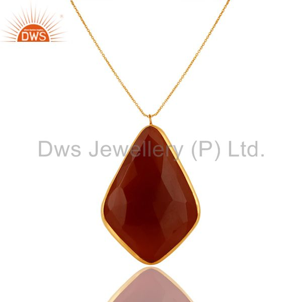 18K Gold Plated Sterling Silver Faceted Carnelian Stone Bezel Pendant Necklace