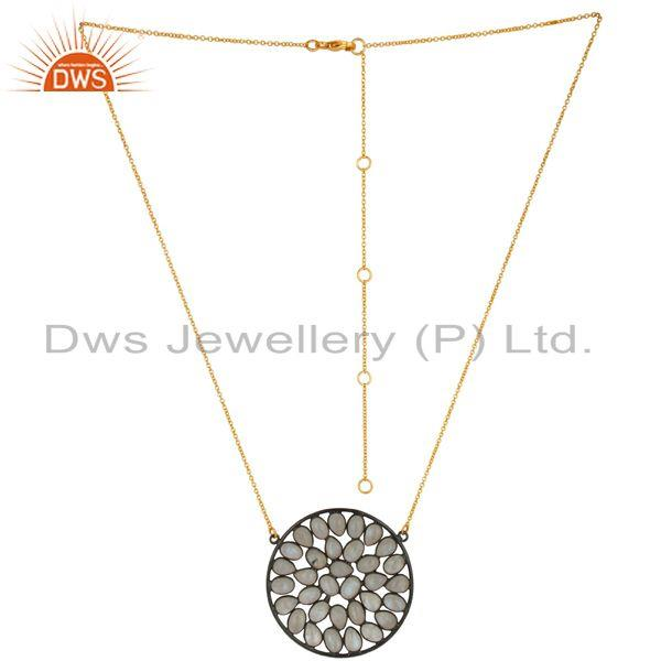 18K Gold Plated & Oxidized 925 Sterling Silver Rainbow Moonstone Chain Necklace