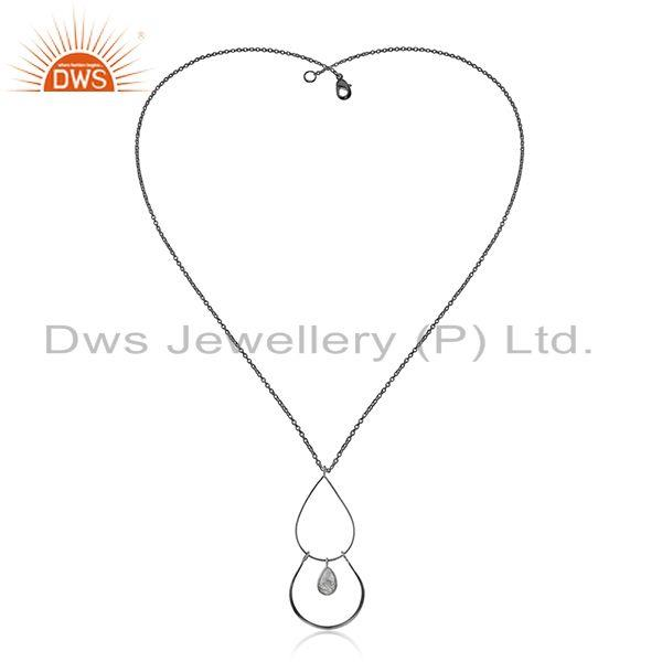 Black Rutile Gemstone Black Sterling 925 Silver Chain Pendant Supplier