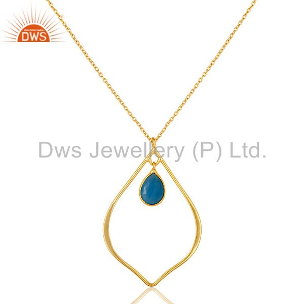 Traditional Design 18K Gold PLated Sterling Silver Pendant Necklace Chalcedony