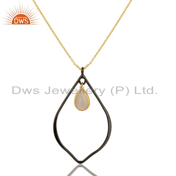 18K Gold Plated & Black Oxidized Sterling Silver Moonstone Chain Pendant Necklac