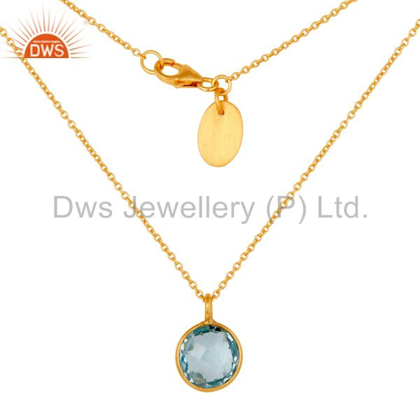 18K Gold Plated 925 Sterling Silver Blue Topaz Gemstone Bezel Set Chain Pendant