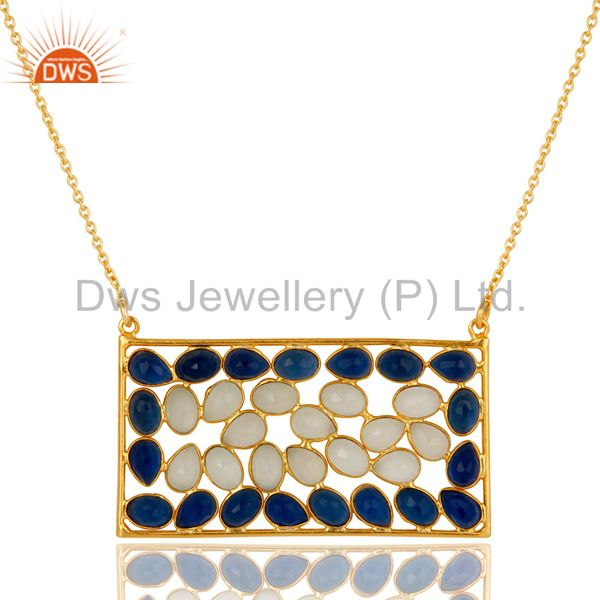 Chalcedony and Corrundum 18k Gold Plated Sterling Silver Pendant With Chain