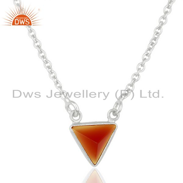 Red Onyx Triangle Small Pendant,Trendy Pendent Sterling Silver Jewelry