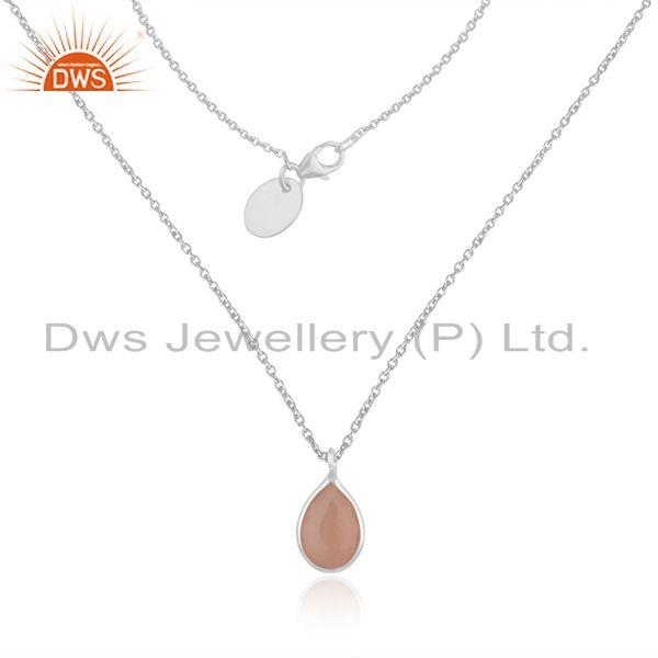 Rose Chalcedony Gemstone Fine Sterling Silver Chain Pendant Wholesale