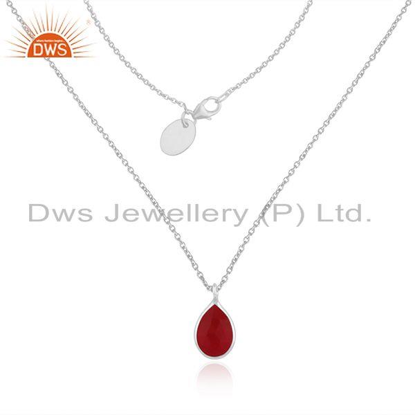 Pink Chalcedony Gemstone Fine Sterling Silver Chain Pendant Necklace Wholesale