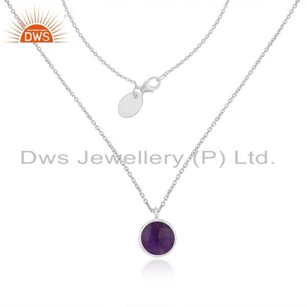 Handmade 925 Sterling Silver Purple Gemstone Chain Necklace