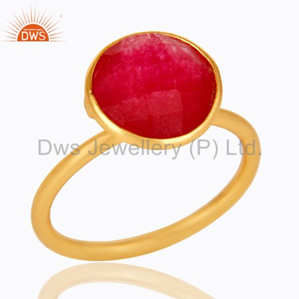 22K Yellow Gold Plated Sterling Silver Red Aventurine Gemstone Stacking Ring