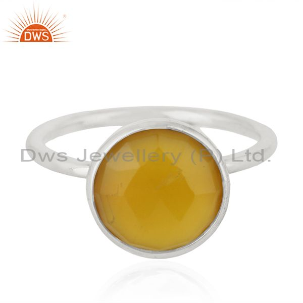 Yellow Chalcedony Gemstone 925 Sterling Fine Silver Ring Manufacturer of Rings