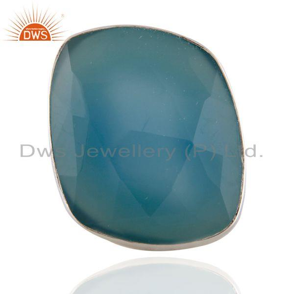 Handcrafted Solid 925 Sterling SIlver Blue Chalcedony Gemstone Ring Size#7