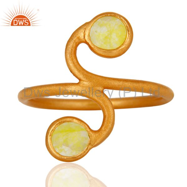 Handmade Lemon Aventurine Gemstone 22K Gold Plated 925 Sterling Silver Ring