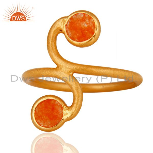 Handmade Orange Aventurine Gemstone Ring Made In 18K Gold Over Sterling Silver