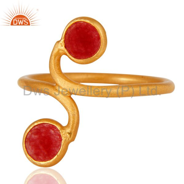 New Arrival !925 Sterling Silver Red Aventurine Gemstone Ring With Gold Plated