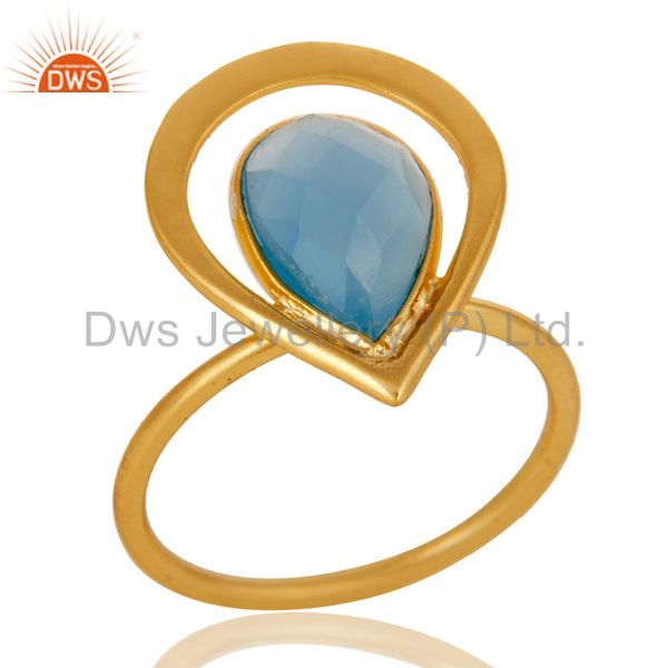 18K Gold Plated Blue Chalcedony Sterling Silver Art Deco Style Designer Ring