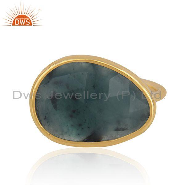 Solid 14k Yellow Gold Emerald Gemstone Handmade Ring Manufacturer in India