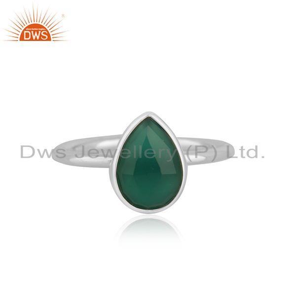 Green Onyx Gemstone Handmade Fine Stering Silver Ring Manufacturer india