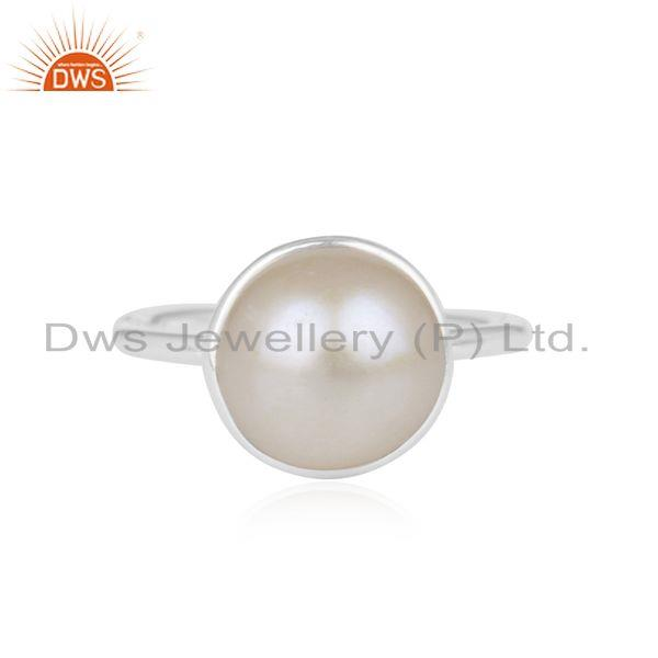 Natural Pearl Gemstone Handmade Fine Sterling Silver Ring Suppliers