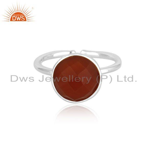 Red Onyx Gemstone 925 Sterling Fine Silver Simple Design Ring manufacturer INdia