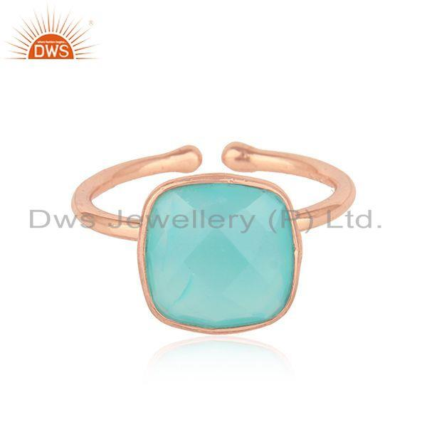 Designer Rose Gold Plated Silver Aqua Chalcedony Gemstone Rings