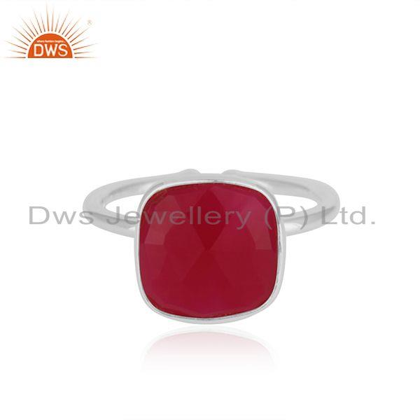 Bezel Set Pink Chalcedony Gemstone 925 Fine Silver Ring Manufacturer India