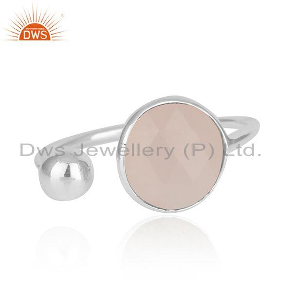 Rose Chalcedony Gemstone Fine Sterling Silver Designer Ring Wholesaler