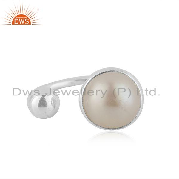 New Arrival Natural Pearl Gemstone Fine Silver Womens Ring Jewelry