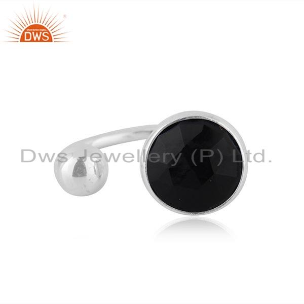 Natural Black Onyx Gemstone Designer 925 Silver Ring Jewelry Supplier
