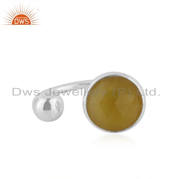 Yellow Chalcedony Gemstone Wholesale Sterling Silver Ring For Womens