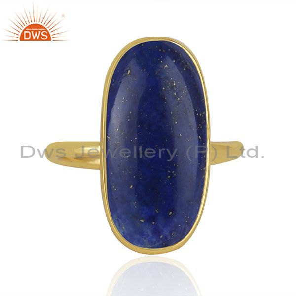 Lapis Lazuli Gemstone Gold Plated 925 Sterling Silver Ring Wholesaler