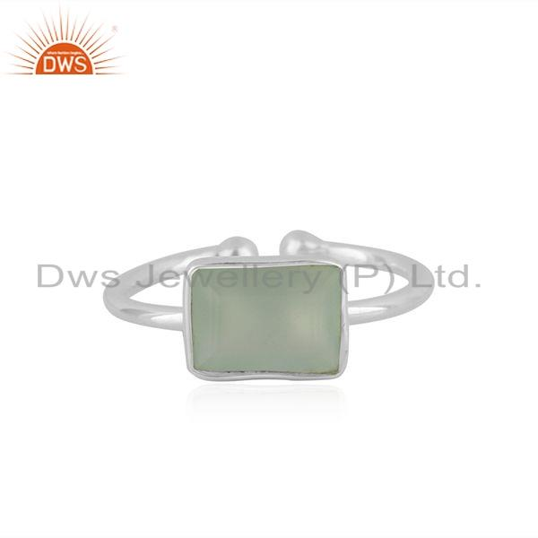 New Sterling Fine Silver Prehnite Chalcedony Gemstone Ring Jewelry