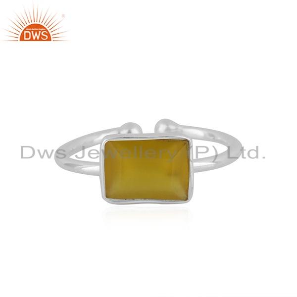 Natural Yellow Chalcedony Gemstone 92.5 Sterling Silver Ring Jewelry