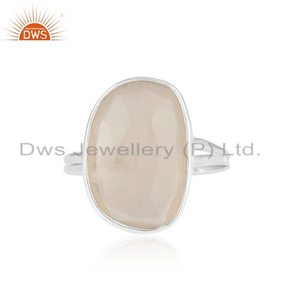 Natural Moonstone Designer Sterling Fine Silver Ring Jewelry