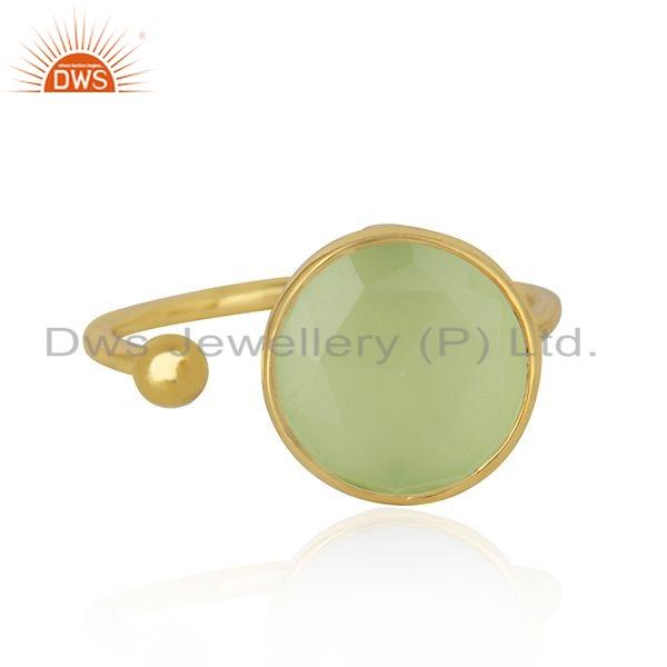 18k Gold Plated 925 Silver Prehnite Chalcedony Gemstone Ring Jewelry