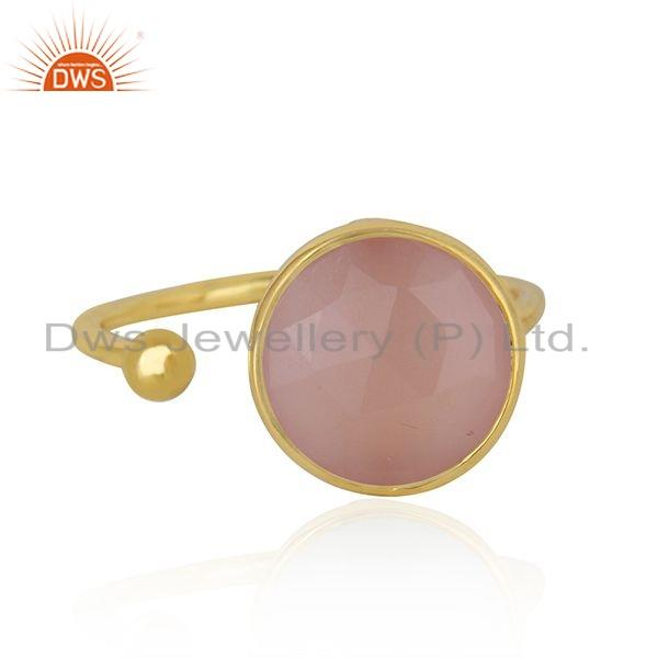 Rose Chalcedony Gemstone Designer Gold Plated 925 Silver Ring Jewelry For Womens
