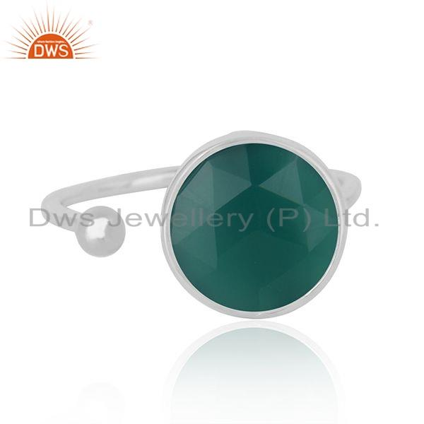 Natural Green Onyx Gemstone Designer 925 Sterling Fine Silver Ring Jewelry