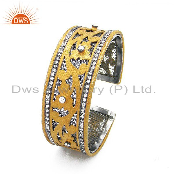 22K Yellow Gold Plated Sterling Silver White Zircon Designer Woven Cuff Bracelet