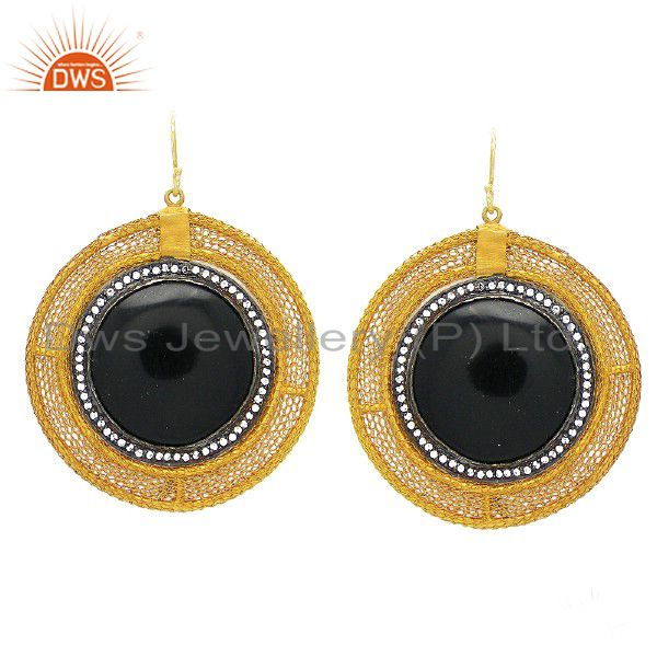 18K Yellow Gold Plated Sterling Silver Wire Woven Black Bakelite And CZ Earrings