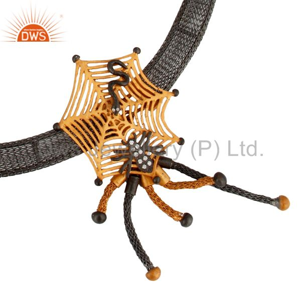 18K Yellow Gold Plated Sterling Silver Spider Web Design Necklace With CZ