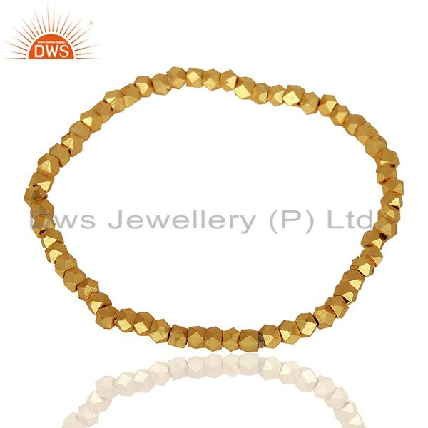 18K Yellow Gold Plated Brass Ladies Fashionable Stretch Bracelet Jewelry